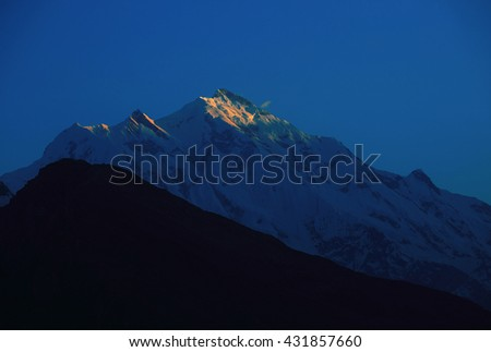 Rakaposhi peak , Karakorum range on the way to Hunza valley , northern of Pakistan - stock photo