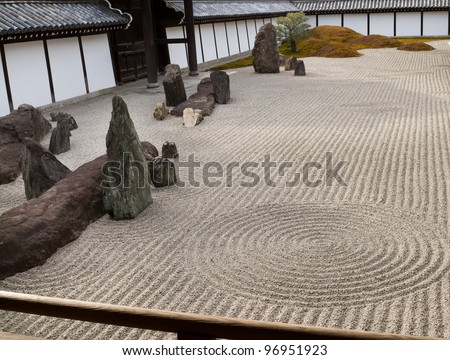Raked sand detail representing waves on the sea in Zen garden - stock photo