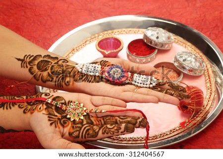 Rakhi in hand with Mehandi, Indian Traditional Festival