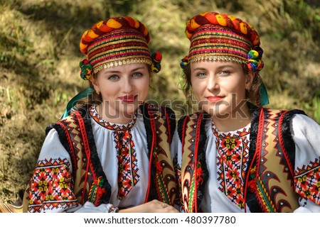 RAKHIV, UKRAINE - 5 SEPTEMBER, 2016. Ukrainian girls in national dress