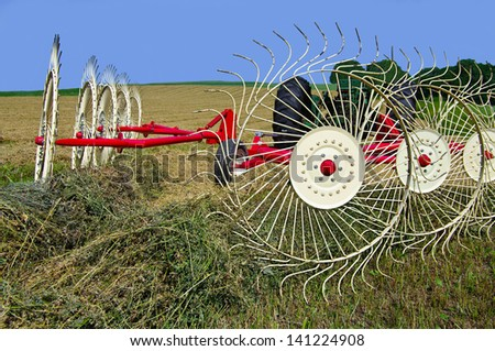Raking Hay:  Wheels made of heavy wire spokes, pulled by a tractor, gather furrows of cut hay in preparation for baling.  - stock photo