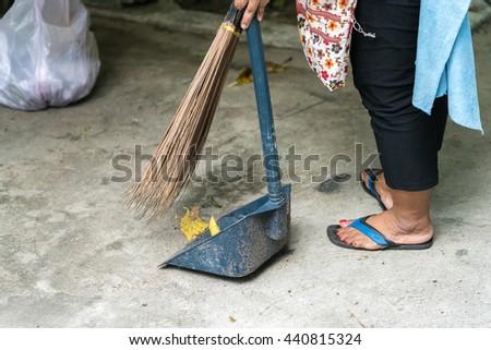 raking leaves  garden housework  - stock photo