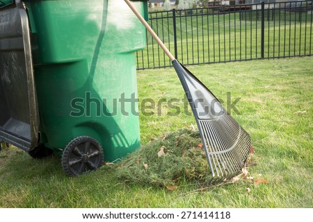 Raking up grass cuttings in spring during yard maintenance with a heap of clippings and a tined rake standing on a neatly manicured lawn alongside a plastic wheelie bin for composting - stock photo