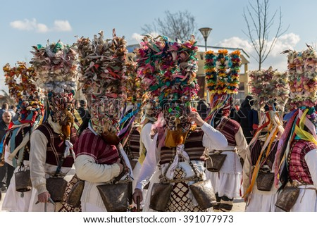 RAKOVSKI, BULGARIA - FEBRUARY 06, 2015 - Kukeri festival in Rakovski, Bulgaria. People dressed in different costumes dance and preform rituals to scare the evel spirits.