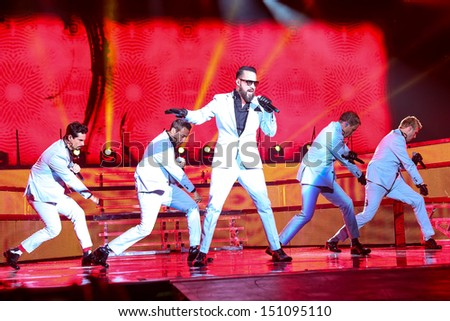 Raleigh, NC - August 20:  The Backstreet Boys live in concert on their 20th anniversary and In A World Like This Tour on August 20, 2013 in Raleigh, NC. - stock photo