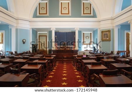RALEIGH, NC - JULY 17, 2011 - Chambers of the North Carolina State Senate