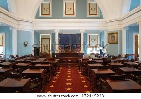 RALEIGH, NC - JULY 17, 2011 - Chambers of the North Carolina State Senate - stock photo