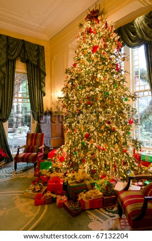 RALEIGH, NC, USA - DECEMBER 12: The executive home of Raleigh, known as the Governors mansion was open for the people to see the Christmas decorations on December 11 & 12, 2010 in Raleigh, NC, USA