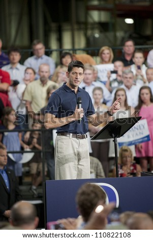 RALEIGH, NORTH CAROLINA - AUG 22: Candidate hopeful Paul Ryan swings through Raleigh for a campaign rally at SMT Inc., a power painting company in Raleigh, North  Carolina on August 22, 2012. - stock photo