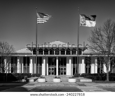 RALEIGH, NORTH CAROLINA - DECEMBER 11: Exterior of the State Legislative building on December 11, 2014 in Raleigh, North Carolina  - stock photo