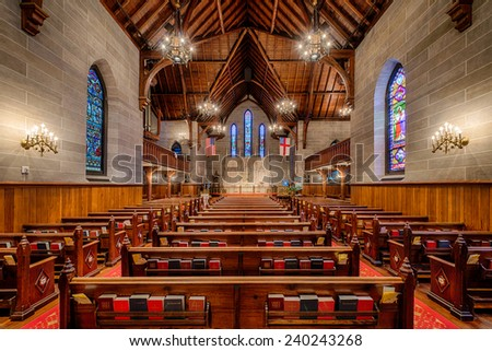 RALEIGH, NORTH CAROLINA - DECEMBER 11: Interior of the Christ Episcopal Church (1848) on December 11, 2014 in Raleigh, North Carolina - stock photo