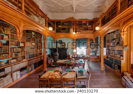 RALEIGH, NORTH CAROLINA - DECEMBER 11: Old library at the North Carolina State Capitol building on December 11, 2014 in Raleigh, North Carolina - stock photo