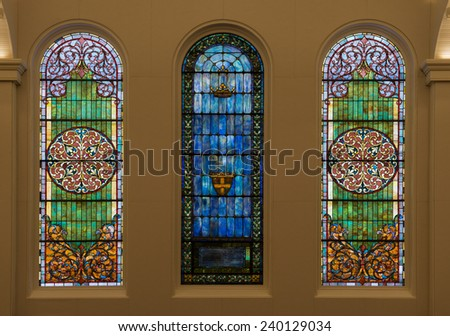 RALEIGH, NORTH CAROLINA - DECEMBER 12: Stained glass windows in the First Presbyterian Church on December 12, 2014 in Raleigh, North Carolina  - stock photo