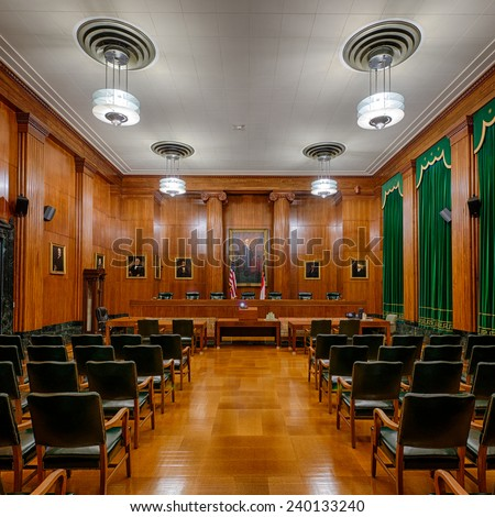 RALEIGH, NORTH CAROLINA - DECEMBER 12: Supreme Court chamber in the Supreme Court building on December 12, 2014 in Raleigh, North Carolina  - stock photo