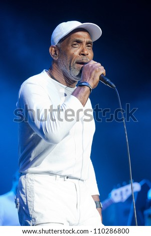 RALEIGH, NORTH CAROLINA - JULY 20: Frankie Beverly performs on stage at Time Warner Cable Music Pavilion at Walnut Creek on July 20, 2012 in Raleigh, North Carolina. - stock photo