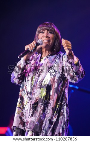 RALEIGH, NORTH CAROLINA - JULY 20: singer Patti LaBelle performs on stage at Time Warner Cable Music Pavilion at Walnut Creek on July 20, 2012 in Raleigh, North Carolina.