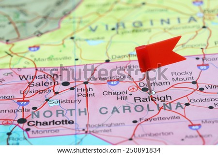 Raleigh pinned on a map of USA