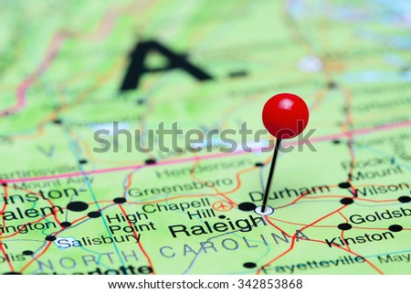 Raleigh pinned on a map of USA  - stock photo