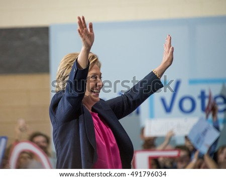 RALEIGH - SEPTEMBER 27: Candidate for president Hillary Clinton visited Wake Tech Com. College. Other speakers were former governor Jim Hunt and Deborah Ross, on September 27, 2016 in Raleigh, USA.