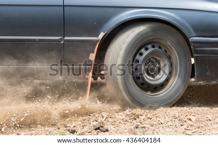 Rally Car speed in dirt road