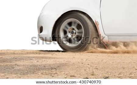 Rally Car speed in dirt road ,isolated on white - stock photo