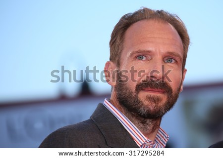 Ralph Fiennes  attends a premiere for 'A Bigger Splash' during the 72nd Venice Film Festival at Sala Grande on September 6, 2015 in Venice, Italy. - stock photo