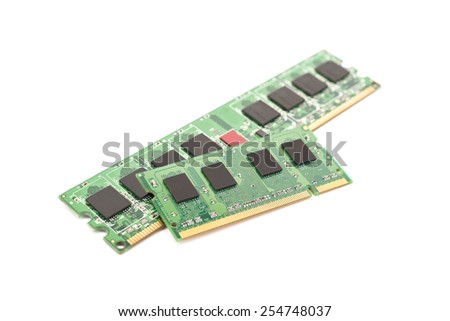 RAM Computer Memory Chip Modules Isolated On White