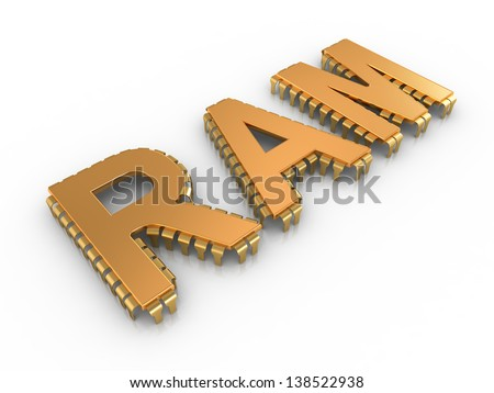 RAM letters like computer chips - stock photo