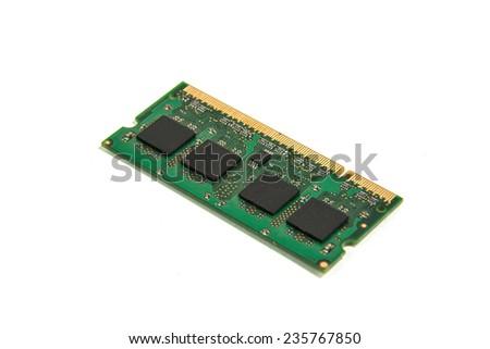 ram notebook module isolated on white background - stock photo
