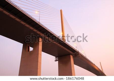 Rama IX suspension bridge in Bangkok, Thailand. - stock photo
