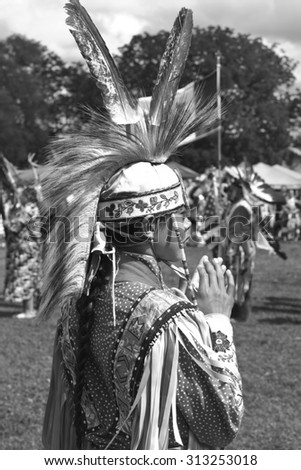 RAMA, ONTARIO, CANADA - AUGUST 23, 2015:  30th Annual Chippewas of Rama First Nation Powwow. - stock photo
