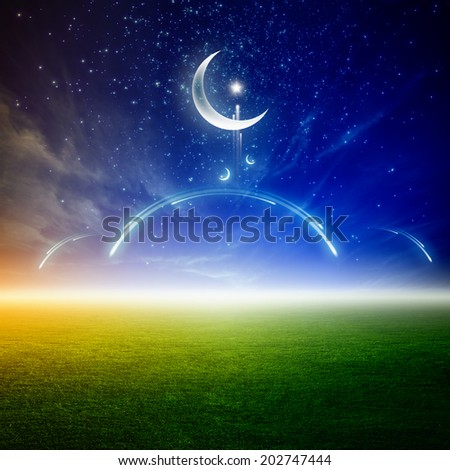 Ramadan background with moon and stars, abstract mosque above green field, islamic holy month - stock photo