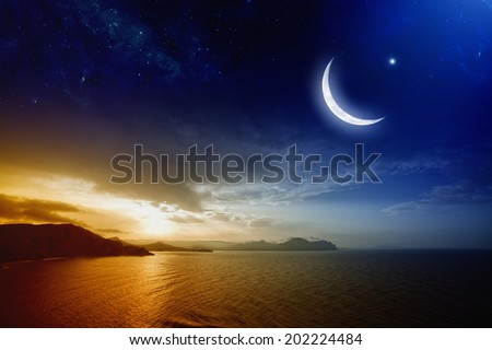 Ramadan background with moon and stars, holy month, beautiful red sunset over sea. Elements of this image furnished by NASA - stock photo