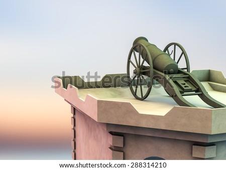 Ramadan cannon on top of an old citadel - stock photo