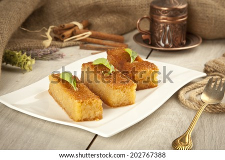 Ramadan Dessert sam tatlisi traditional Turkish sweet - stock photo