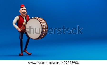 ramadan drummer with drum 3d render -blue background - stock photo