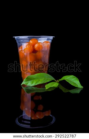 Ramadan Food Candil compote with leaf in black