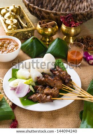 ramadan food, satay kebab roasted chicken  - stock photo