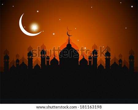 ramadan greeting card with mosque silhouette background - stock photo