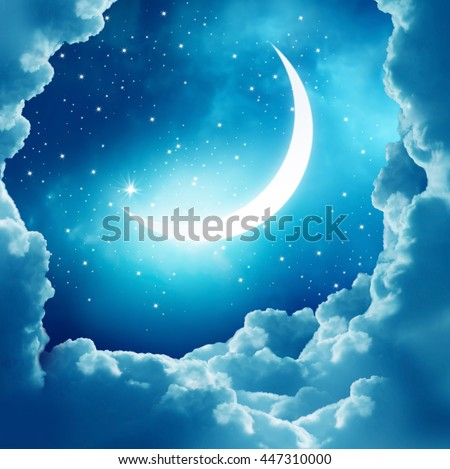 Ramadan Kareem background.Crescent Moon and clouds - stock photo