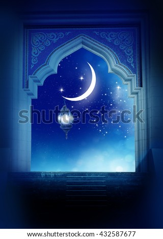 Ramadan Kareem background..Mosque window with shiny crescent moon