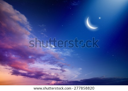Ramadan Kareem background with moon and stars, holy month. Elements of this image furnished by NASA nasa.gov - stock photo
