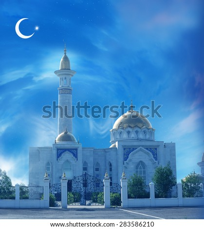 Ramadan Kareem background with mosque - stock photo