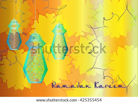 Ramadan Kareem - colorful eid lanterns hanging from the ropes with decorations arab arabesque style. Islamic muslim holiday background with copy space for text. - stock photo