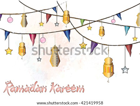 Ramadan Kareem - colorful eid lanterns hanging from the ropes with decorations, stars and holiday flags. Al-Adha eid festival. - stock photo