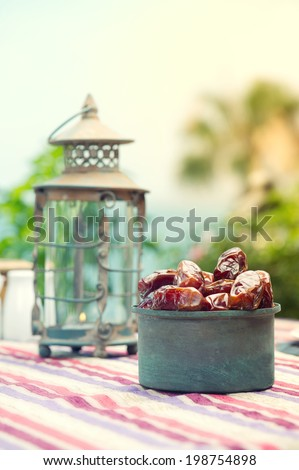 Ramadan Lamp and dates fruit still life  - stock photo