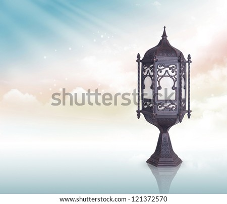 Ramadan Lamp greeting concept clipping path included - stock photo