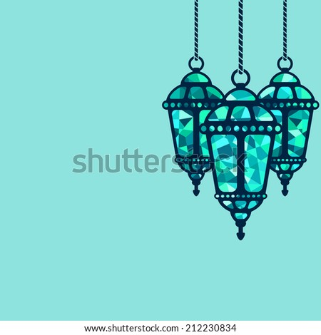 Ramadan lantern background -  illustration - stock photo
