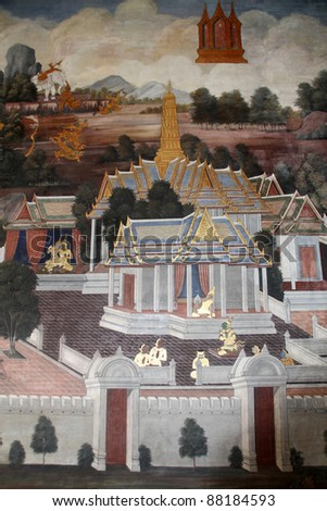 Ramakien pictures on the wall, column and roof of temple - stock photo