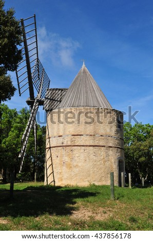 Ramatuelle, France - april 16 2016 : the wind mill of Paillas